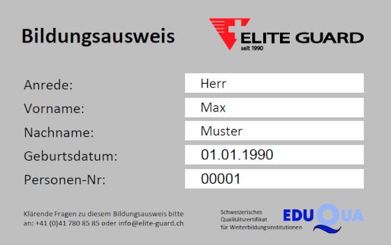 Bildungsausweis Vorderseite Elite Guard Sicherheitsdienst Security